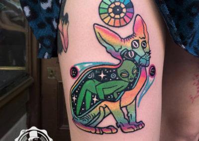 tatuaje gato tres ojos | tatuajes originales | estudio de tatuajes madrid