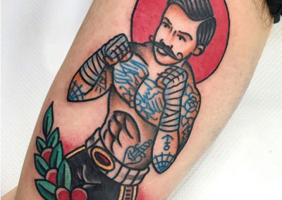 tatuaje-boxeador-oldschool