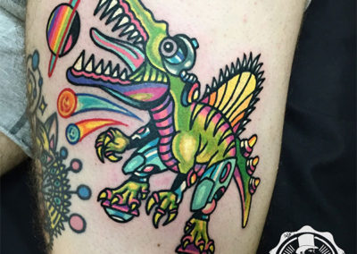 tatuaje dinosaurio | tatuajes divertidos por Raro82
