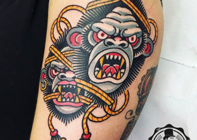 estilo de tatuajes: mono old school tattoo