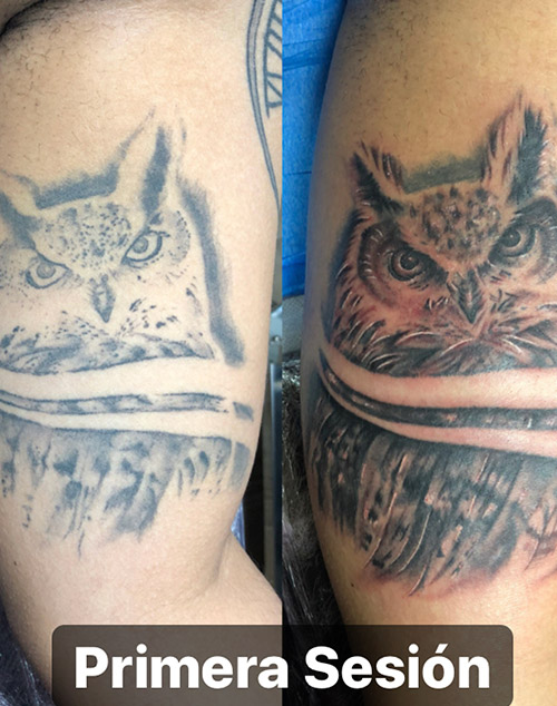tatuaje buho | tatuajes cover en la pierna