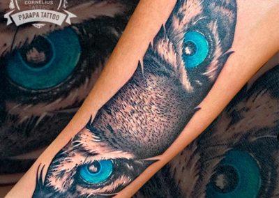 tatuajes brazo hombre mirada tigre Cornelius tattoo
