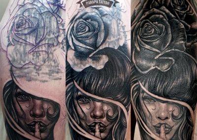 tatuajes realistas | mujer y rosa