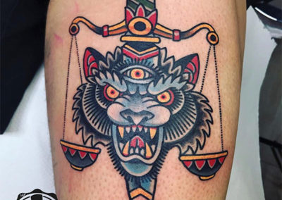 tatuajes old school | tigre de colores