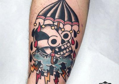 tatuajes old school de una calavera