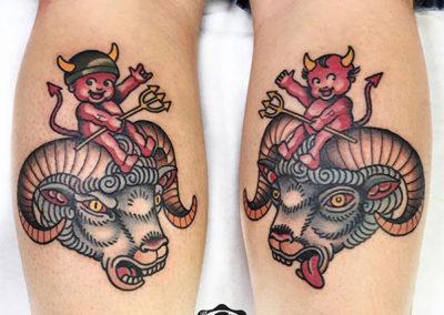 tatuajes old school de demonios y cabras