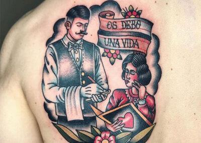 tatuajes old school en la espalda