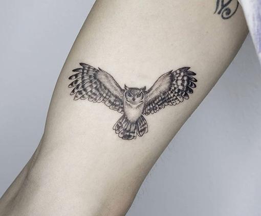tatuajes brazo hombre buho