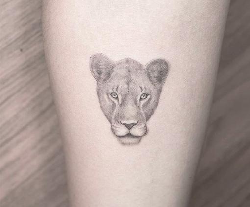 tatuaje dotwork león