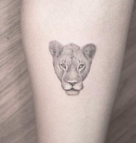 microrealismo tattoo de una leona