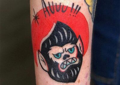 tatuajes a color hombre lobo