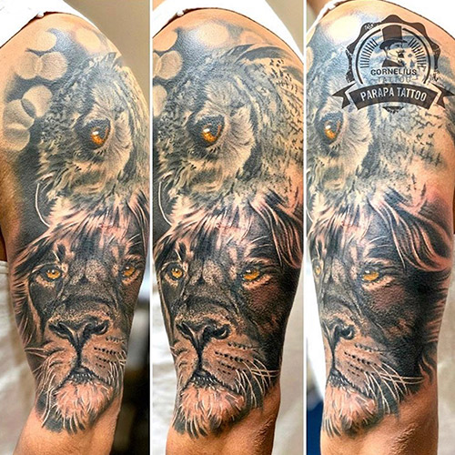 tatuajes en el brazo león