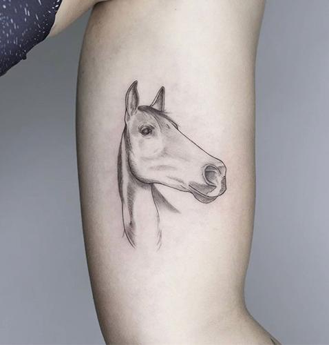 tatuajes pequeños micro realismo de un caballo