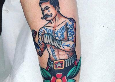 tatuajes old school de boxeador